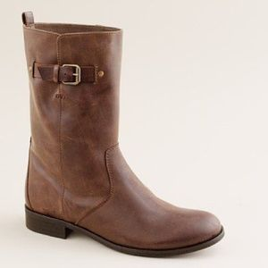 J. CREW BROWN MID CALF BILLIE BUCKLE LEATHER BOOT